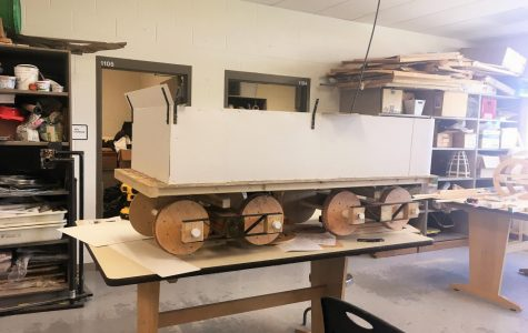 The locomotive tender car is currently under construction in the art room. It will be a key component in this year's art project.