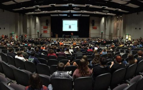 Powell students filled the auditorium on the first day of school Aug. 23.