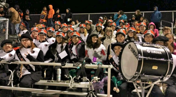 The PHS band poses for a group picture during the Homecoming football game Sept. 22.
