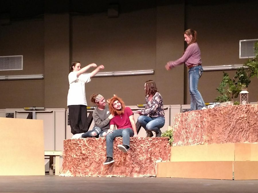 College theatre students (from left ) Madyson Riedinger, Lauren Asher, Jake Frankenberry, Emily McCaslin and Sadie Wenzel practice a scene from a Midsummer Night's Dream, which will be performed Nov. 3-4.
