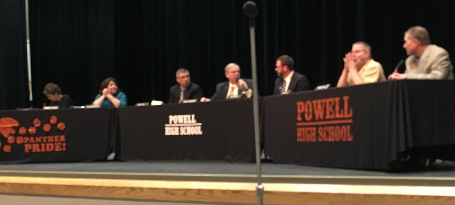 Powell School Board trustees and Superintendent Mr. Jay Curtis (third from right) conduct a public form on March 12 at the PHS auditorium.