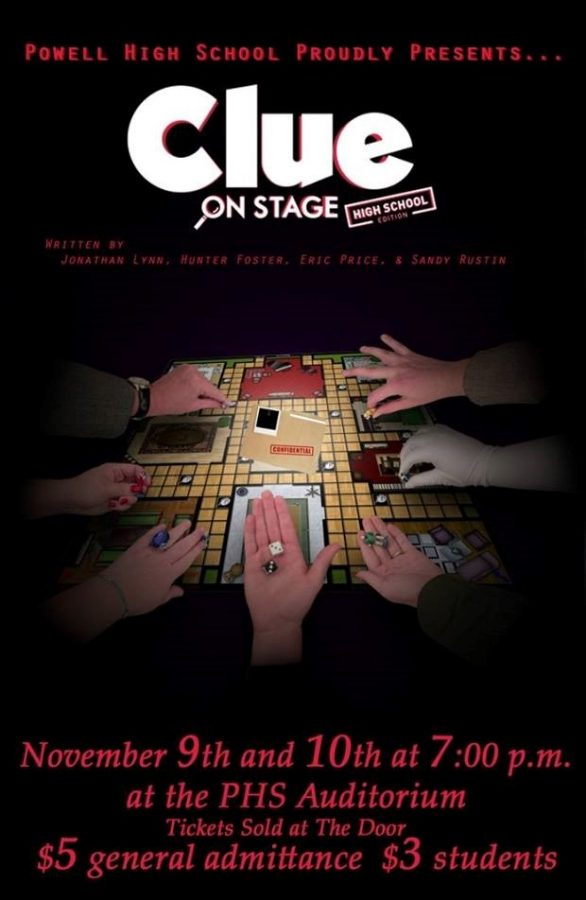 The Clue posters around the school and community depict an image from the classic board game.