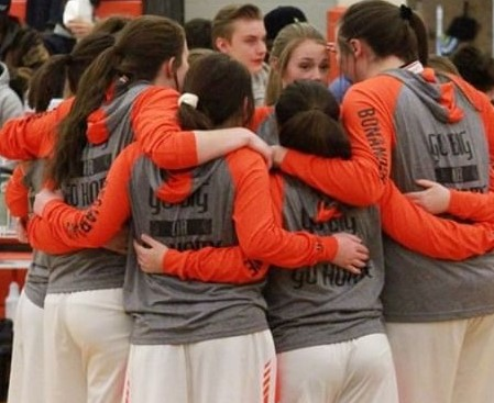 The Lady Panthers huddle up before the game against Rocky on Jan. 4.