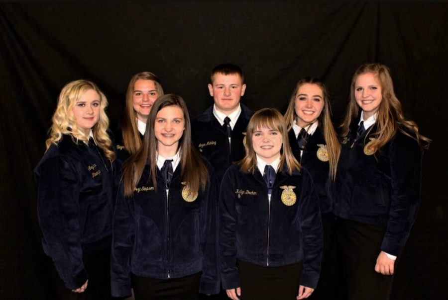The 2018-19 Powell-Shoshone FFA Officer Team poses at the FFA banquet last May. Included are (front from left) Jozi Simpson, Kaitlyn Decker (back from left) Aryanna Minemyer, Tegan Lovelady, Logan Mehling, Gracie McLain, McKennah Buck.