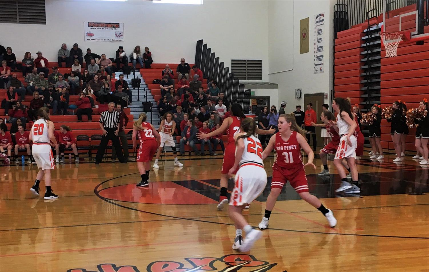 The Powell Lady Panther basketball team runs through a play against the Big Piney Lady Punchers Feb. 2.