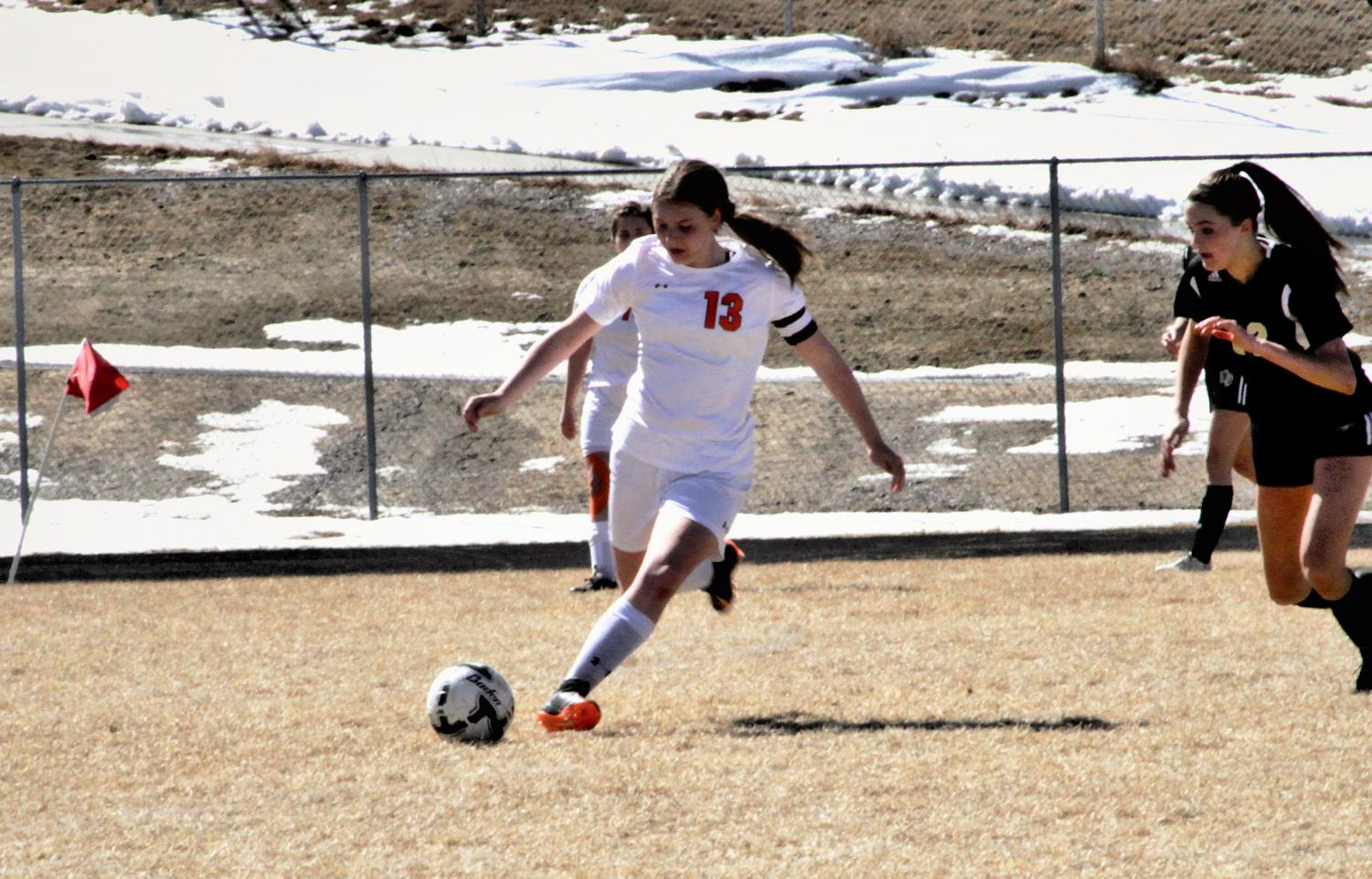 Junior Michele Wagner looks to kick the ball in the first game of the season Saturday, March 16, against Buffalo.