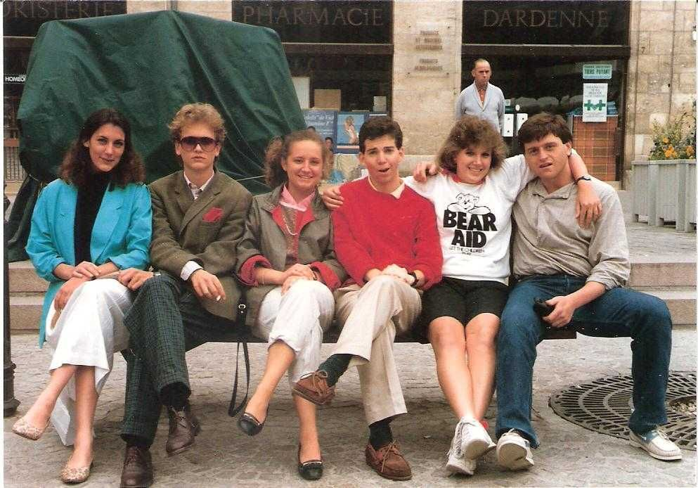 French teacher Nan O'Neill pictured with friends when she attended school in France.