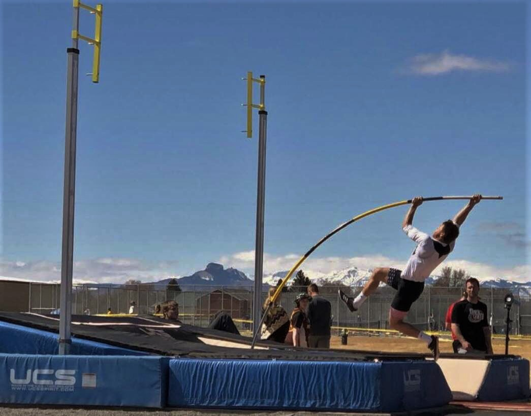 Freshman Reed Smith warms up in pole vault before Powell's L.A. Kohnke Invitational starts.