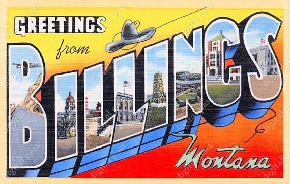 Billings sign displaying various attractions in biggest city in Montana.