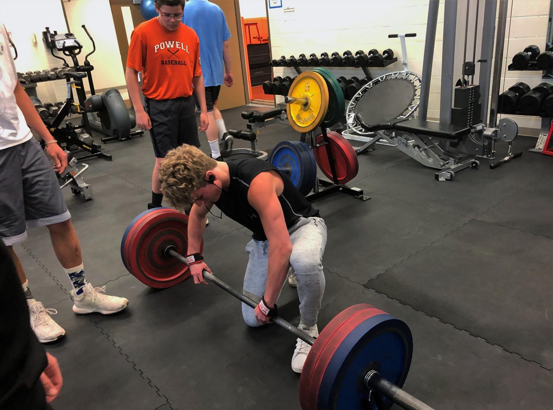 Junior Tanner Moore attempts his deadlift max at 295 lbs.