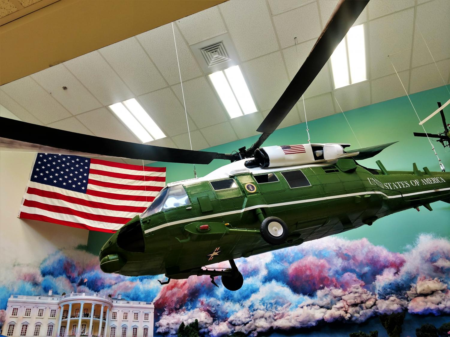 The newly added Blackhawk along with the White House and the colorful trees. Can you find the Three baby Easter eggs in the photo? (Hint: look at the White House)