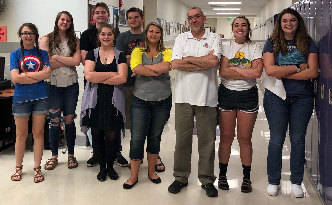 Graduating seniors who have served on the Prowl staff during the 2018-19 school year include (from left); Joelynn Petrie, Devon Curtis, Aidan Hunt, Abigail Cubbage, Holden Wilson, Kenadee Bott, Adviser Mr. Vin Cappiello, Gracie McLain and Kara Borcher.
