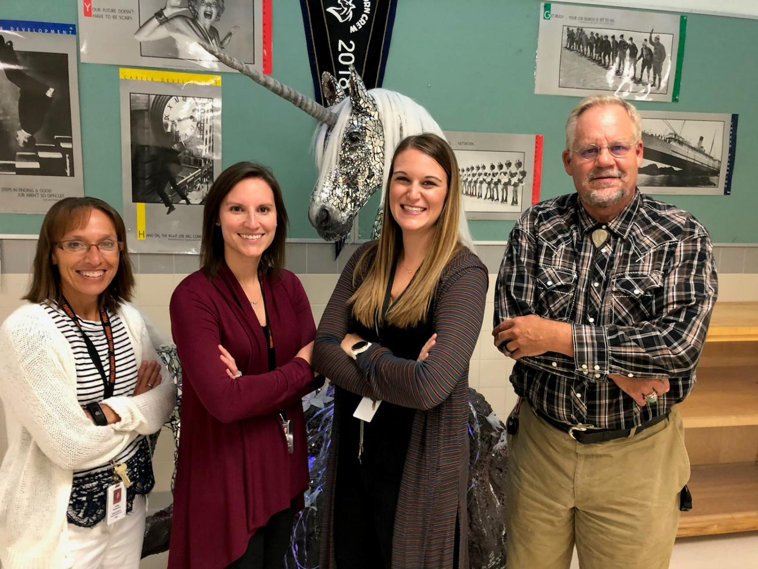 The new PHS staff members pose for a picture. (From left) Mrs. Cathy McKenzie, Mrs. Kallie Papich, Mrs. Kaitlin Loeffen and Mr. Jerry Bellmeyer.