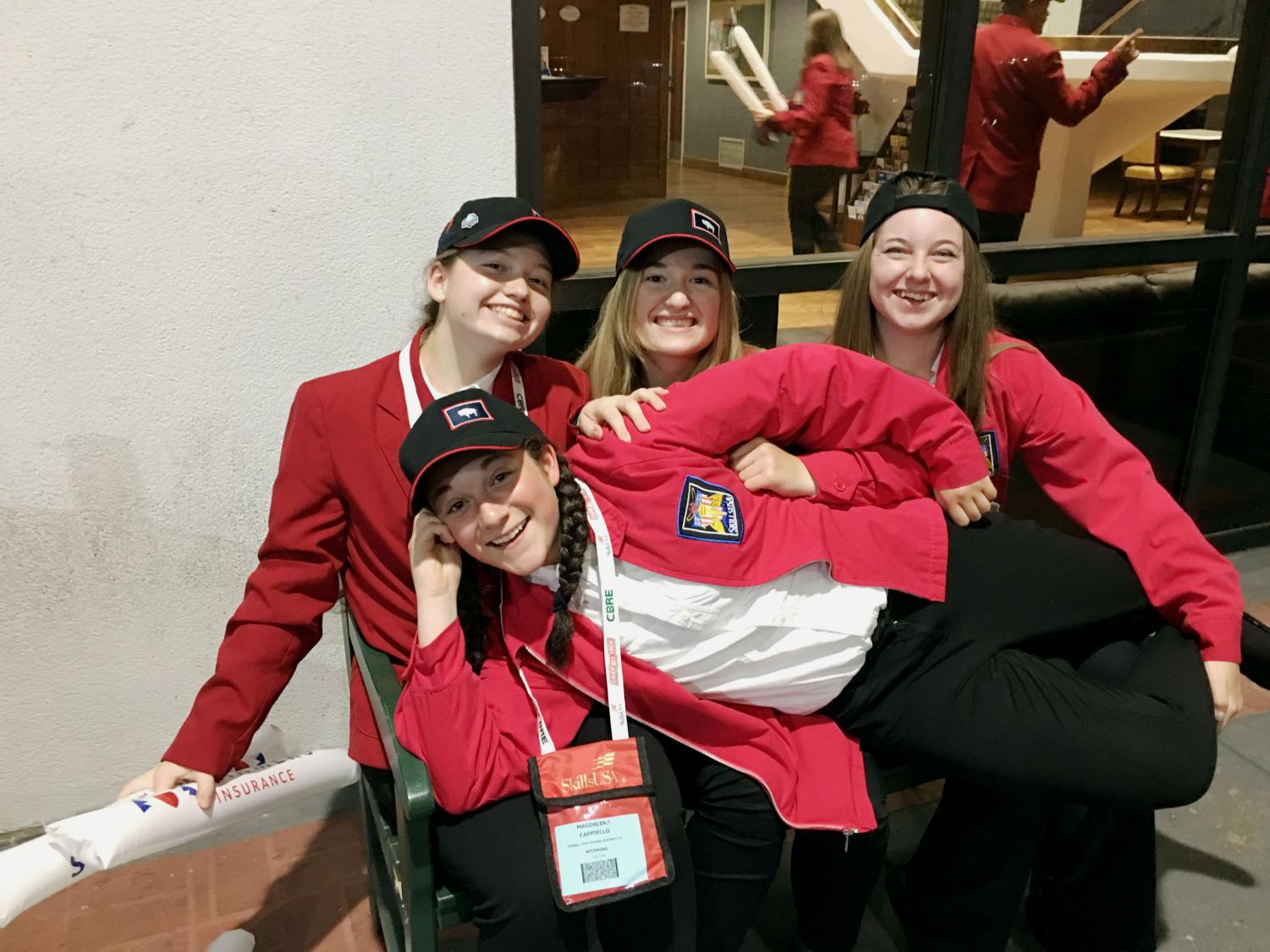Powell High School SkillsUSA members pose for a picture at the National competition in Kentucky. Back, from left: Bailee Moore, Kaitlyn Church, Nellie Lucas. Front: Maggie Cappiello.