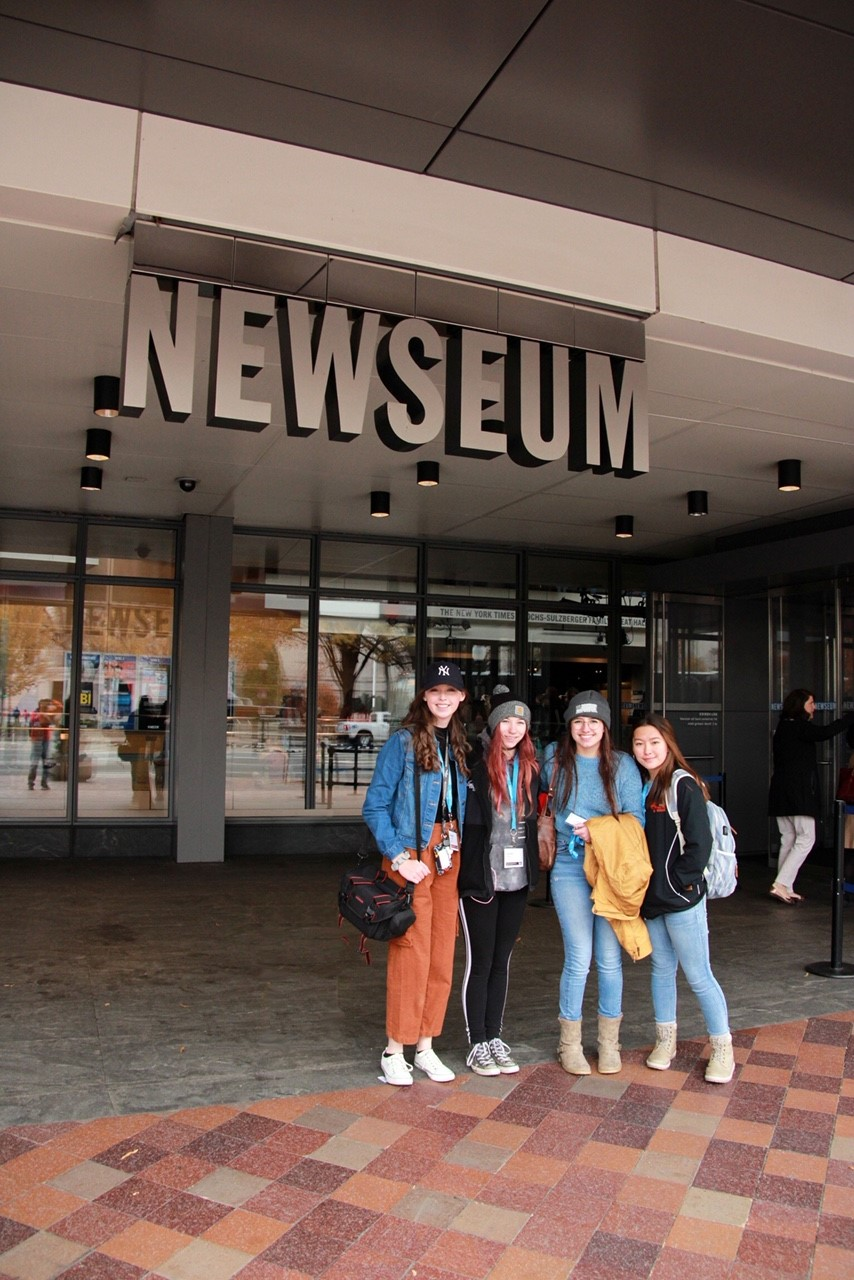 Prowl staffers (from left) who attended the national convention pose in front of the Newseum: Abby Landwehr, Lauren Dewitz, Lauren Lejeune and Rachel Kuntz.