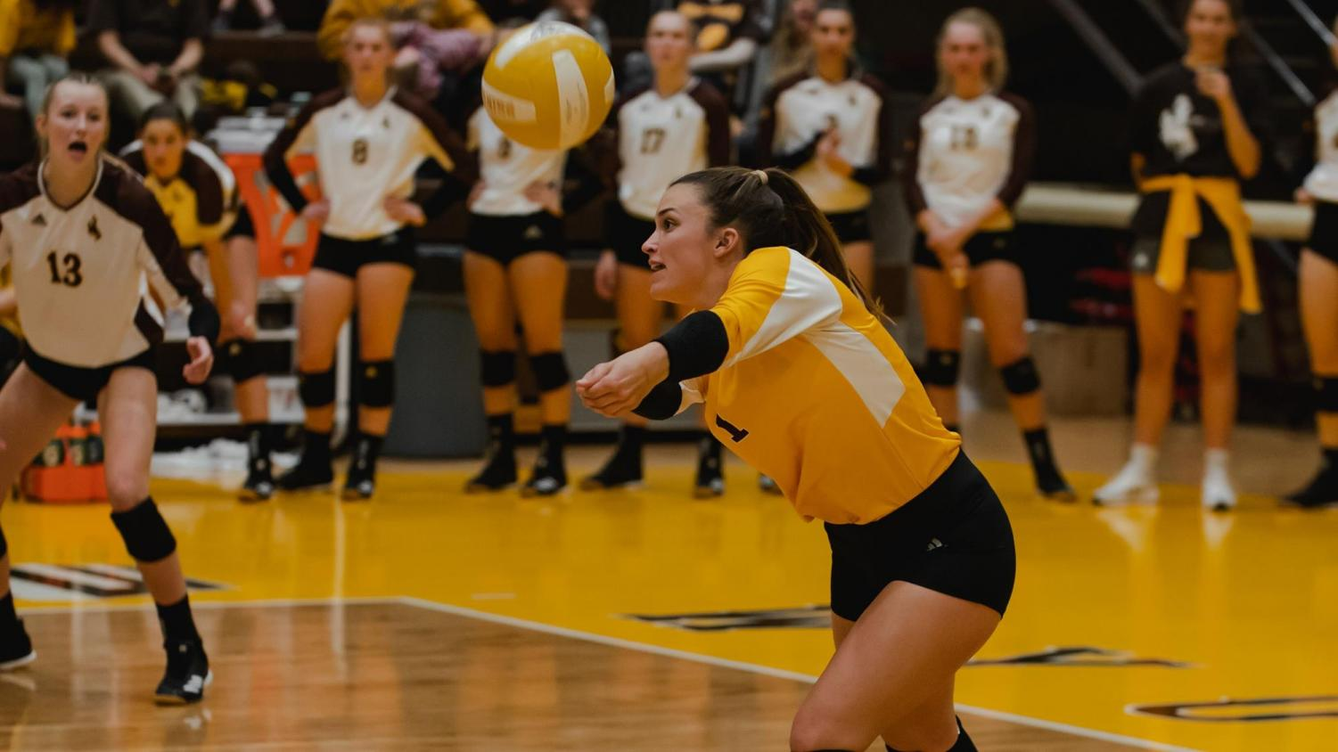 University of Wyoming senior Madi Fields passes the ball during a recent game.