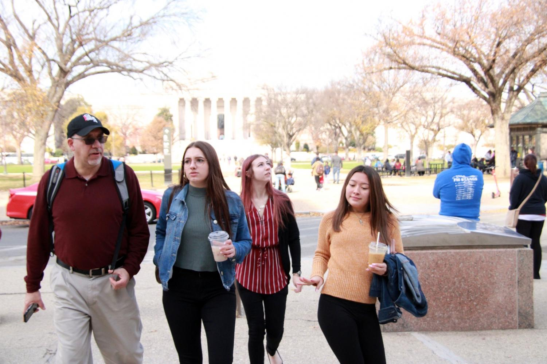 PHS Prowl reporters walk to Capitol Hill. From left: adviser Vin Cappiello, senior Lauren Lejeune, senior Lauren DeWitz, senior Rachel Kuntz.