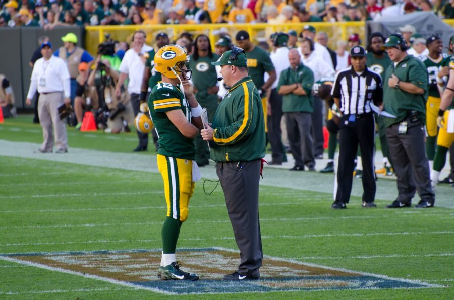 Former+Green+Bay+Packers+head+coach+Mike+McCarthy+%28right%29+coaches+quarterback+Aaron+Rodgers+on+Lambeau+Field+in+2012.+Dallas+Cowboys+fans+hope+new+head+coach+McCarthy+can+transform+their+team%27s+losing+streak.%0A