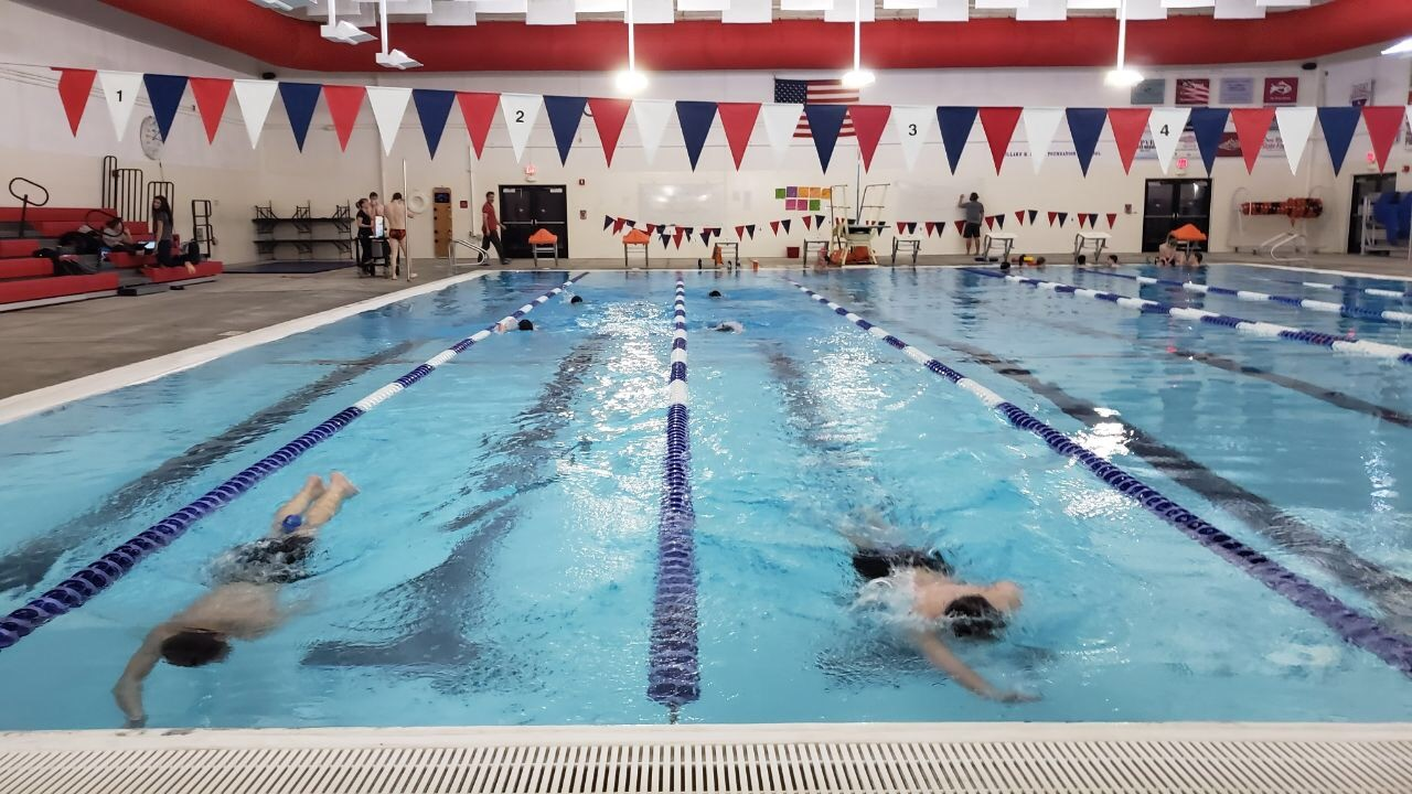 The Powell Panther swim team practicing for their next meet.
