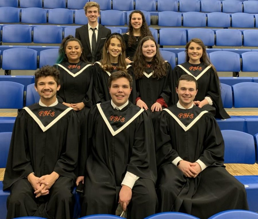 Members of the Powell High School Band and Choir include: (front, from left) junior Joe Kousoulos, junior Jaxton Braten, senior Colin Queen; (middle) junior Sabrina Alvarez, senior Greta Artursson, sophomore Emma Butcher, senior Ashlyn Aguirre; (back) senior Jay Cox, junior Elisa Polson.