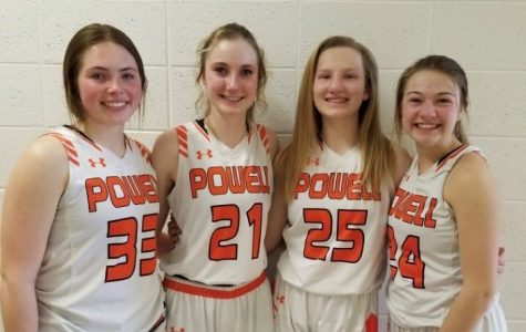 Juniors (from left) Paije Johnson, Hailee Hyde, Rose Graft and Madison Fields at the basketball regional tournament March 6 in Lyman.