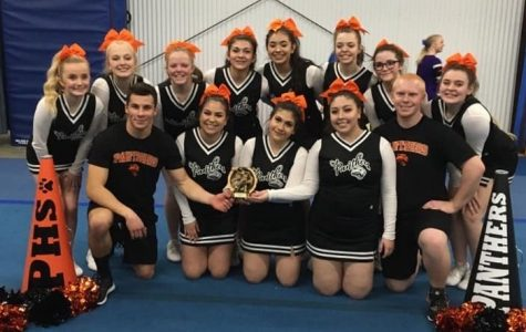 The PHS cheer team poses with their first place trophy after the Game Day competition in Cody on Feb. 15. (back, from left) Sophomore Morgan Schmidt, sophomore Rylee White, junior Kaydee Black, sophomore Lorena Vazquez, sophomore Josseline Mendoza, freshman Madison Black, freshman Alexa Nardini and junior Mia Baxter. (front, from left) Senior Brody Karhu, senior Kailey Jurado, senior Luci Abarca, senior Scarlette Mendoza and junior Geordan Weimer.