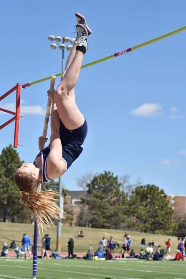 PHS Alumni and past track star Lexee Craig propels herself into the air during the pole vault event at a collegiate meet. Her greatest accomplishment while running for Dickinson State is making it to nationals.