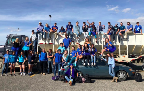 A portion of the Powell High School 2020 senior class poses together on Color Day during Homecoming week in September 2019.