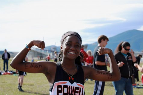 Sophomore Kalaiah Stenlund poses for a photo during the Red Lodge XC meet in September.