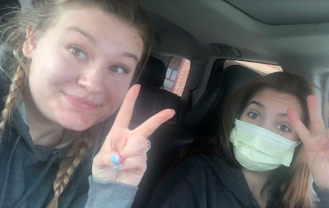 PHS senior Lauren Lejeune (right)  and senior roommate Kenzie Clarkson take a selfie while waiting to see a doctor.