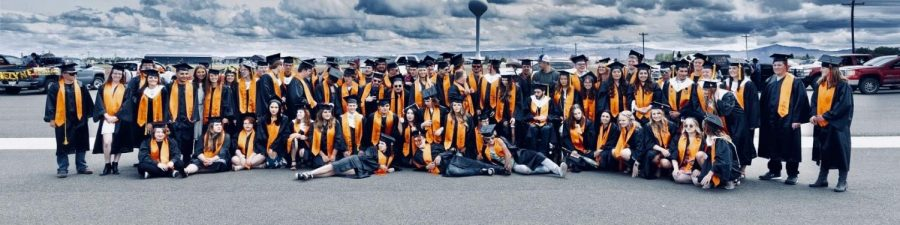 The+Powell+High+School+Class+of+2020+poses+for+a+group+photo+after+graduation+on+Sunday%2C+May+24.+
