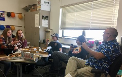 "Mr. Vin Cappiello tells a story to (from left) Tristin Willett, Issac Wilson, Dawson Hiatt and Kaylee Stewart during ""bad kids' lunch"""