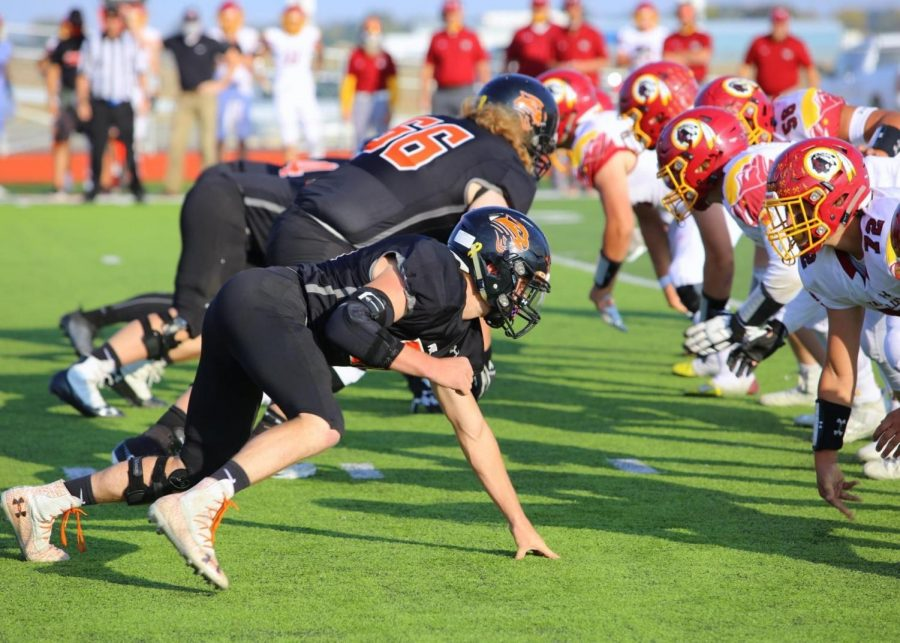 The+Panthers+lined+up+at+the+50-yard+line+of+Powell%E2%80%99s+football+field+to+face+the+Star+Valley+Braves+on+Oct.+8.+The+Panthers+came+out+on+top%2C+adding+a+victory+to+their+record.+%0A