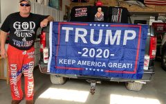 Powell resident and Trump supporter Rich Crane proudly displays his extensive collection of Trump merchandise.