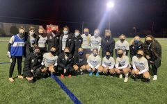 Marian University's Soccer team, stands together for a photo. Just recently, the team started their practices and competed in scrimmages against one another.