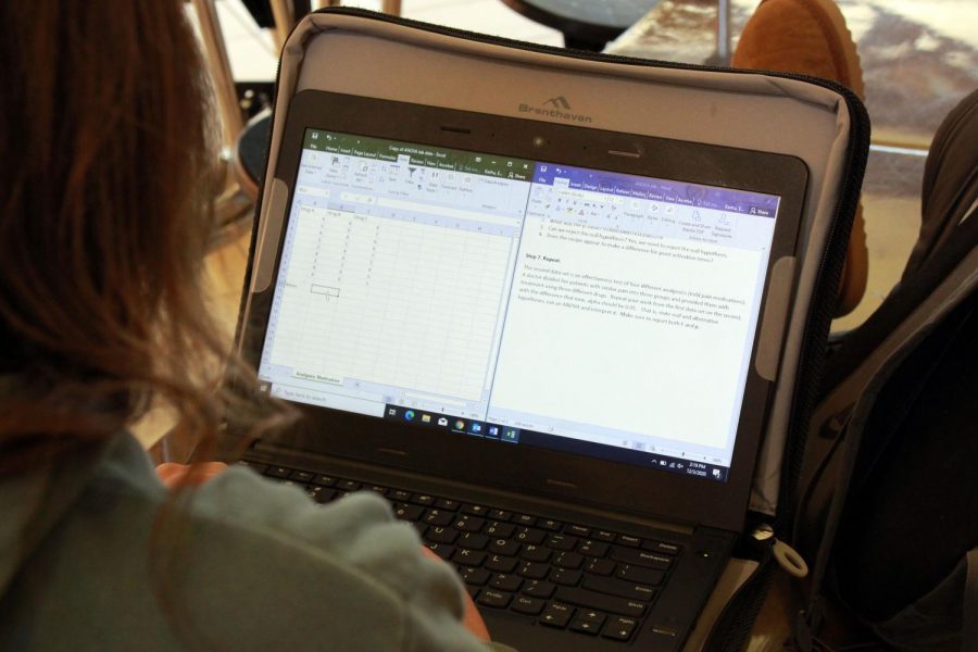 PHS senior Emma Karhu works on an assignment for her science class using a rented Lenovo laptop.
