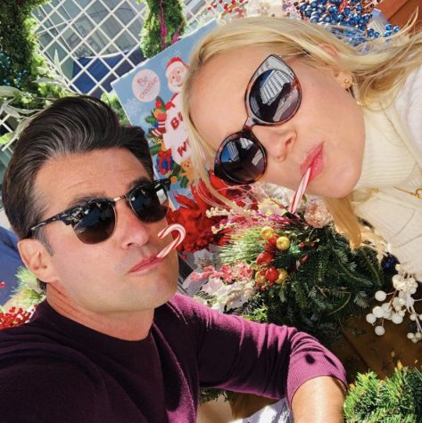 "Hallmark actor Wes Brown and actress Jessy Schram eat candy canes and wear sunglasses while posing for a photo on September 22. The photo was captioned ""Movie. Music. Candy canes (minus two) coming soon,"" and the newest movie featuring the two actors came out last month."