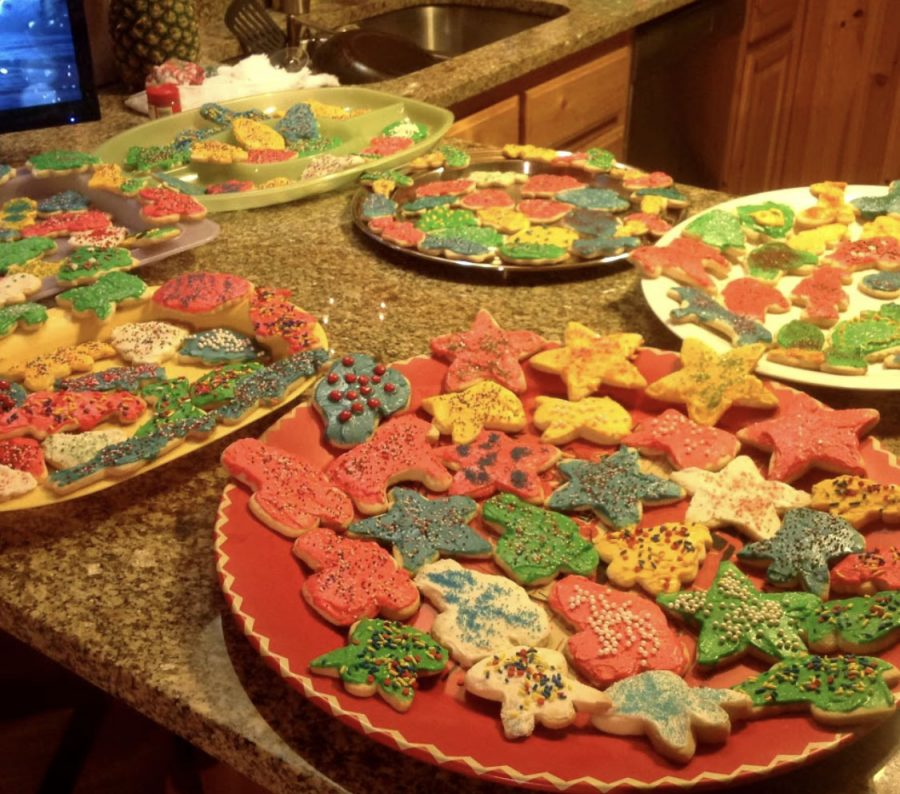 A spread of decorated Christmas cookies baked annually during the holidays by the family of Prowl reporter and copy editor Bailey Phillips.
