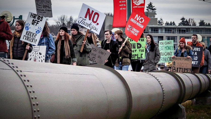 """Protesters line up next to the Kinder Morgan Texas Pipeline, which is designed to transport up to 2.1 Bcf/d of natural gas through approximately 430 miles of 42-inch pipeline from the Waha Hub in West Texas to the U.S. Gulf Coast and Mexico markets. A few of their signs read, """"No, Thank you."""" """"Hands off, Kinder Morgan!"""" """"You can't eat money, you can't drink oil."""""""