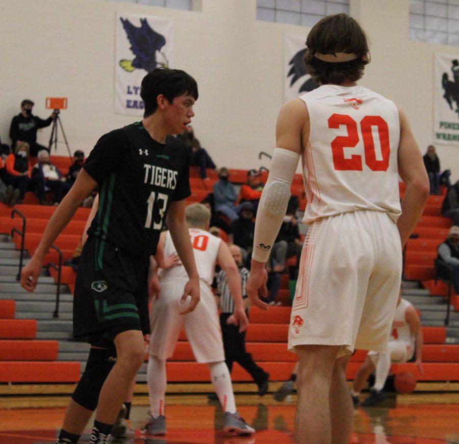 PHS junior, Zach Ratcliff squares off against a Lander defender