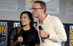 Elizabeth Olsen and Paul Bettany speaking at the 2019 San Diego Comic Con International, for WandaVision, at the San Diego Convention Center in San Diego, California.