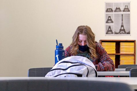 PHS junior Megan McDaniel works on an assignment in french class. Masks, like the one McDaniel is wearing, is one of many Covid-19 precautions put into place this school year.