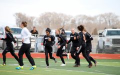 The Lady Panthers celebrate a goal made by Kayla Kolpitke. The team won 3-1 against Pinedale on March 29, 2019.