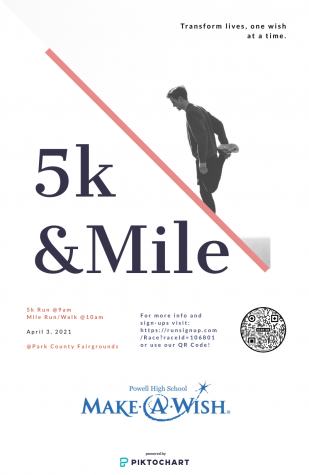 Student Council will be sponsoring a 5K and 1-mile fun run/walk April 3 to support Make-a-Wish.