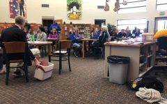 Swimmers, coaches and parents gathered in the PHS library on April 8 for the awards assembly.