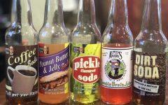 Unusual soda flavors from left include Coffee, Peanut Butter and Jelly, Pickle, Zombie Brain Juice and Dirt.