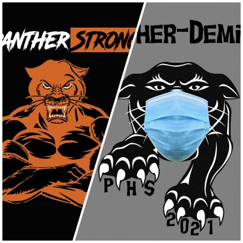 "(From left) PHS 2019-20 yearbook cover with the theme ""#PantherStrong."" Beside it, the PHS 2020-21 yearbook cover with the theme ""Panther-demic"" is shown."
