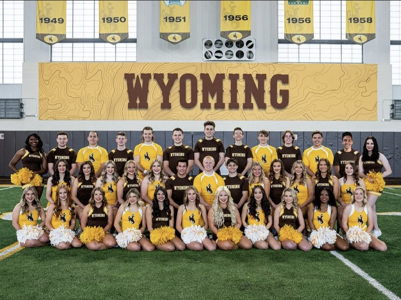 Wyoming Cheer team has released their roster and the athletes are excited for their season. Pictured in the second row, in the middle, is PHS senior, Geordan Weimer. In the back row, to the left, PHS senior Jaxton Braten is also pictured.