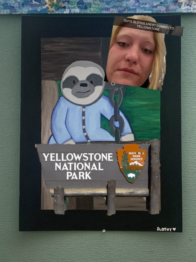 This photo illustration depicts a painting of a sloth by senior Jalana Michaels sits , the entrance sign of Yellowstone National Park and a sad puppy dog-eyed Shelby Fagan, when she discovered sloths weren't actually coming to Yellowstone.