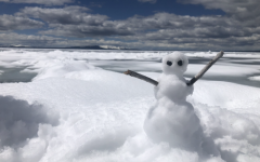This snowman was made back when Powell had their first snow day in 20 years.